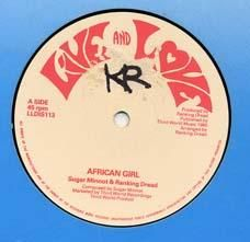 AFRICAN GIRL / VERSION. Artist: Sugar Minnott  Ranking Dread. Label: Live and Love